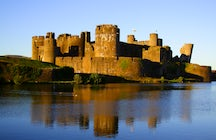 Caerphilly  castle, second largest in Britain