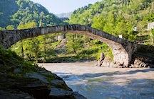 Makhuntseti bridge and waterfall