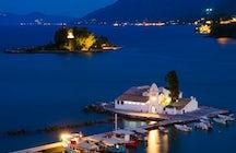 Kanoni, the church of Panagia Vlacherna and the Mouse Island in Corfu