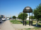 A memorial sign of the border between Europe and Asia in Atyrau