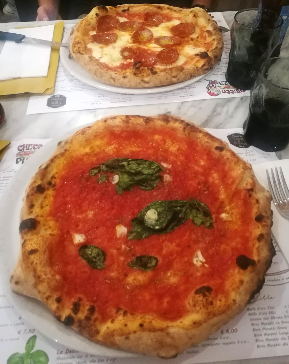 Pizza Marinara and Salame e Zola at Checco Pizza
