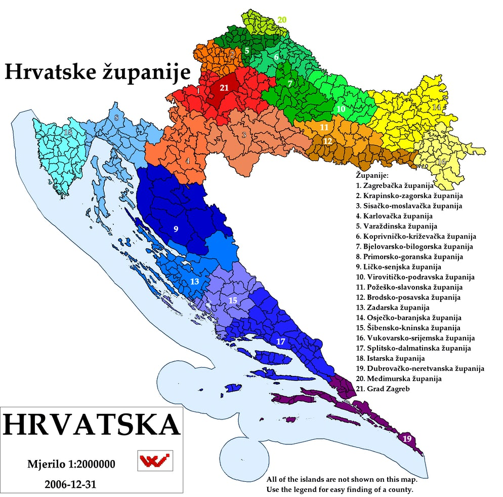 Croatian counties - županije; Photo © credits to Wikipedia/ Rainman