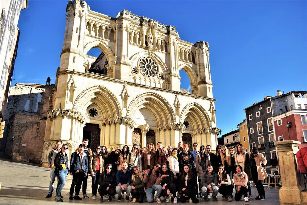 Tour group in front of the Cathedral in Cuenca - photo credit @ Joe Thorpe