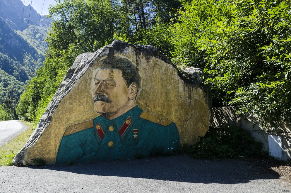 Photo © credits to Victoria Derzhavina. Stalin image by the side of the road in Ossetia