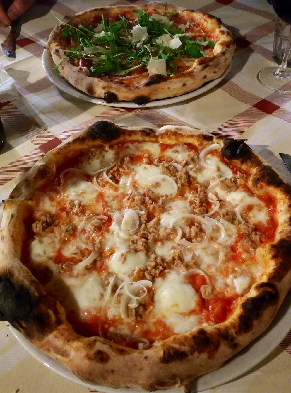 Pizza Tonno and Pizza Crudo e Rucola at Pizzeria Pulcinella