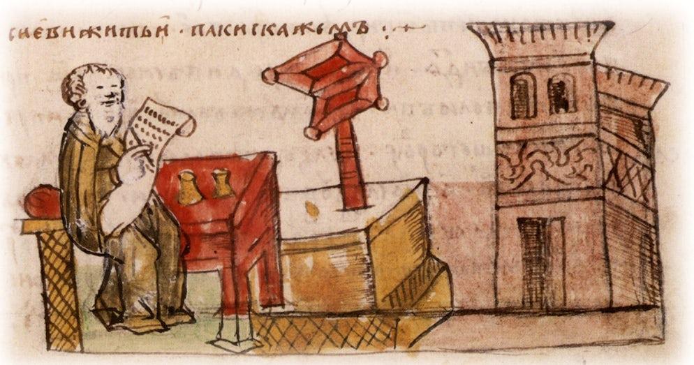 Photo © credits to Runivars.ru/ Radzivilovskaya ancient chronicle. St. Theodosius Pechersky