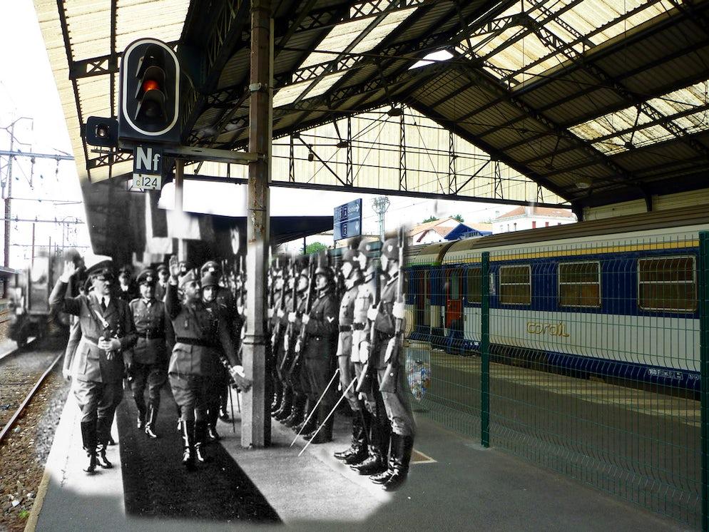 © Flickr A.FLECHA (Hitler and Franco walk together on the platform at Gare d'Hendaye)