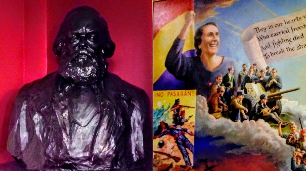 © Adam L. Maloney (A bust of Marx and Spanish Civil War mural)