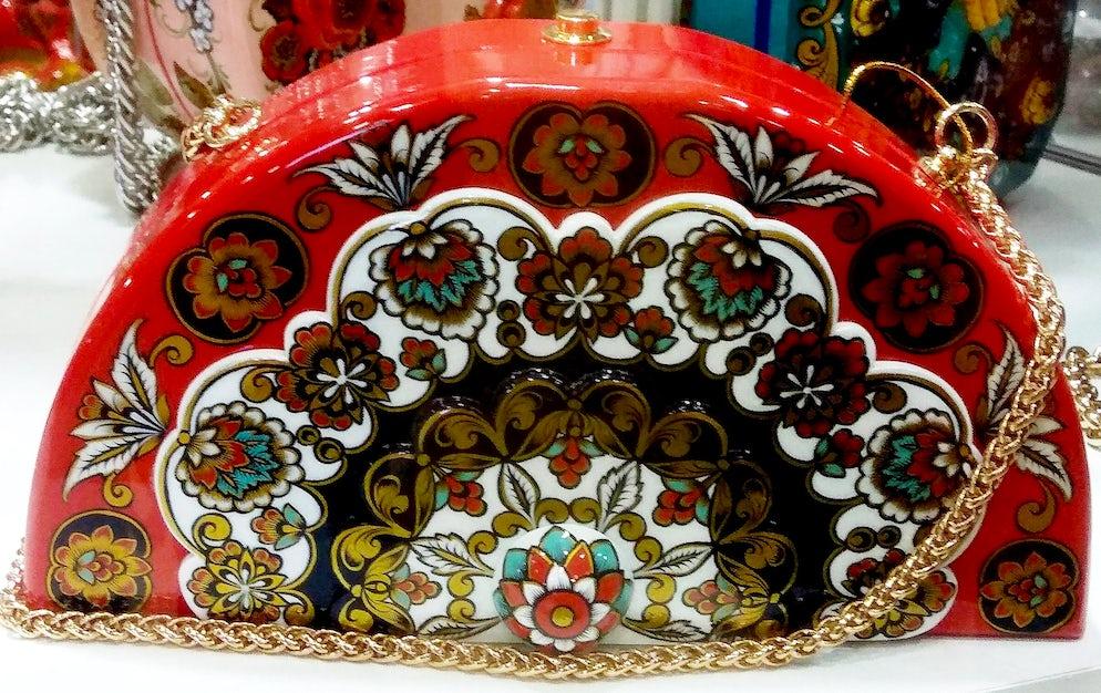 A bag with Khokhloma painting