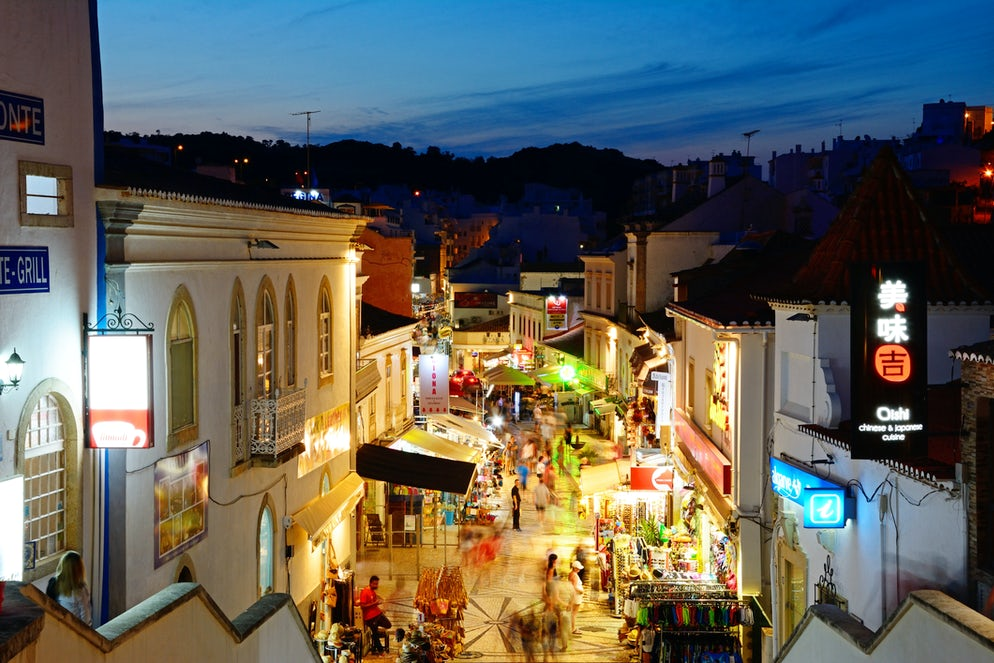 Streets of Albufeira at night (picture by CaronB).