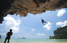 Climbing the karst in Railay, Krabi