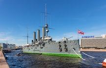 Cruiser Aurora, a famous battleship of Saint Petersburg