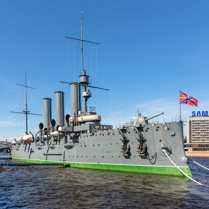 Cruiser Aurora, a famous battleship of Saint Petersburg