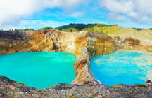 Three mystical colored lakes of Kelimutu in Flores