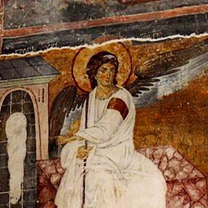 Serbisches Fresko mit weißem Engel, das über unseren Planeten hinaus reiste.