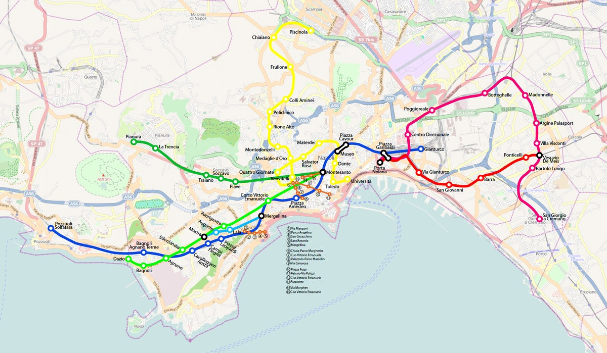 Naples Subway Map.A Handy Guide To Naples Metro System