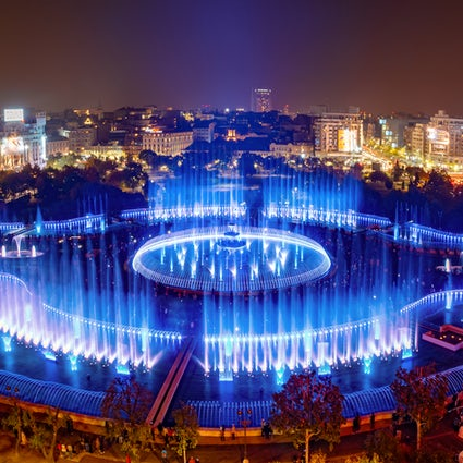 The 44 synchronized fountains in Bucharest's Unirii Square
