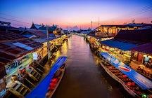 Mercado flutuante e pirilampos em Amphawa, Samut Songkram