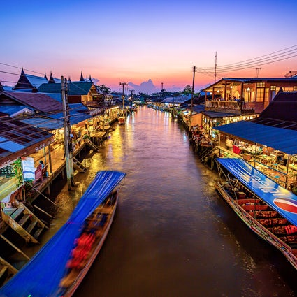 Floating market and fireflies in Amphawa, Samut Songkram