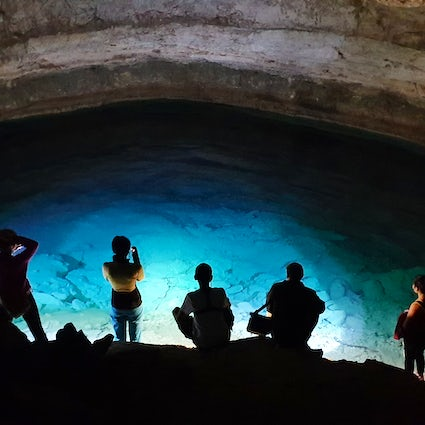 Fascinating blue lake of Balayuk Cave in Mangistau