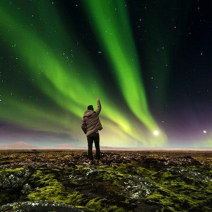 Jagd auf die Aurora Borealis in Island