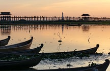 An ancient teakwood bridge in U Bein, Mandalay