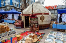 A stroll and a weekend fair on the Arbat boulevard, Almaty