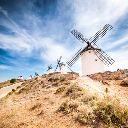 The windmills of La Mancha, following the steps of Don Quixote