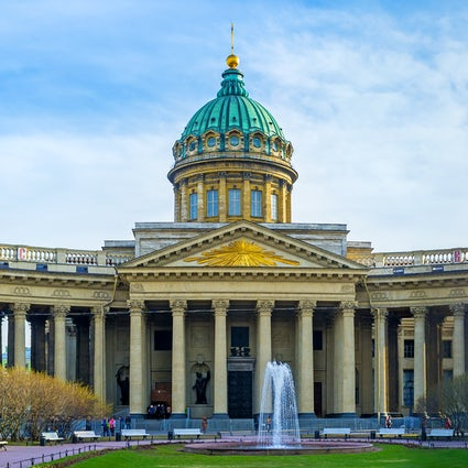 Kazan Cathedral in Saint Petersburg: resembling the Roman temple