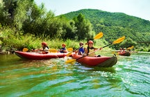 Canoeing on the river Sella in Asturias