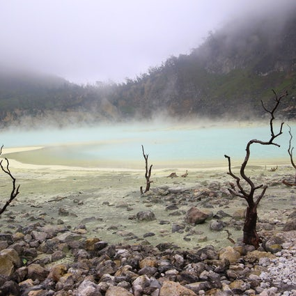 Surreal landscape of Kawah Putih in West Java
