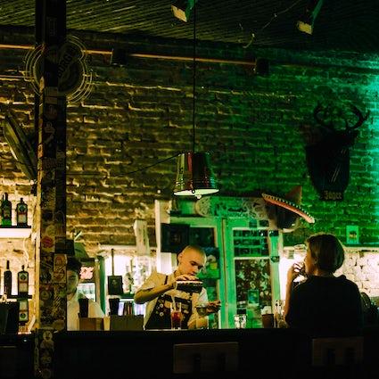 Food, drinks, and nightlife at Kastrychnitskaya Street in Minsk