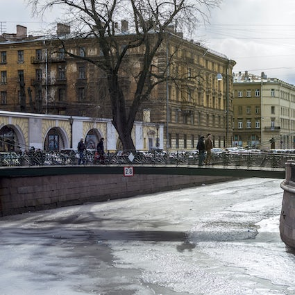 Bank Bridge in Saint Petersburg: griffins for good luck