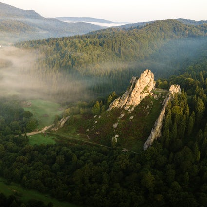 The picturesque rock fortress Tustan near Lviv
