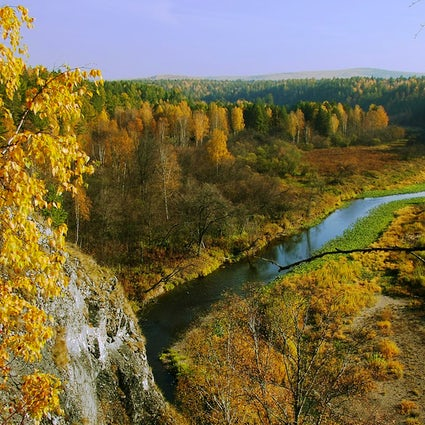 Golden autumn in Deer Streams Nature Park in the Urals