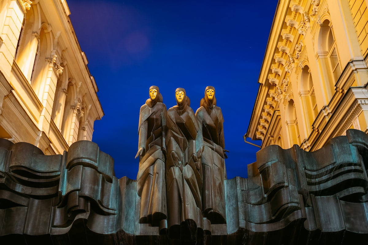 Three Muses of Lithuanian National Drama Theater in Vilnius