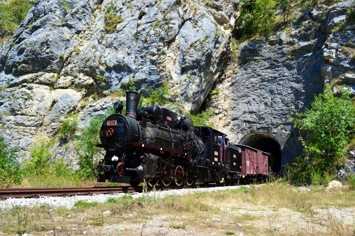 Legendary Bosnian narrow-gauge train 'Ćiro' in Višegrad