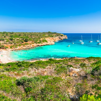 White sand and turquoise water, Cala Varques, Mallorca