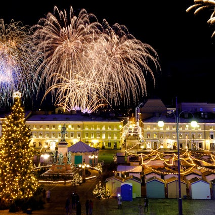 Kerstmarkten in de stad Helsinki