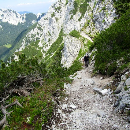 Bornova pot: hiking through a tunnel to Prevala Mountain