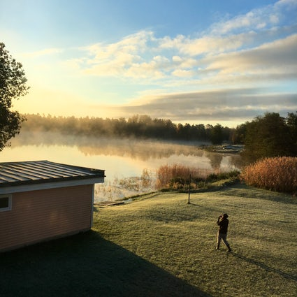 Magical winter morning on lake on Åland