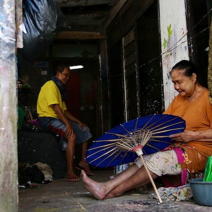 Traditional umbrella making in Tasikmalaya, West Java