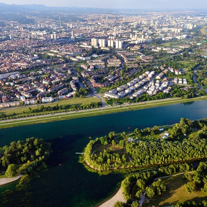 Jarun Lake in Zagreb and its six islands