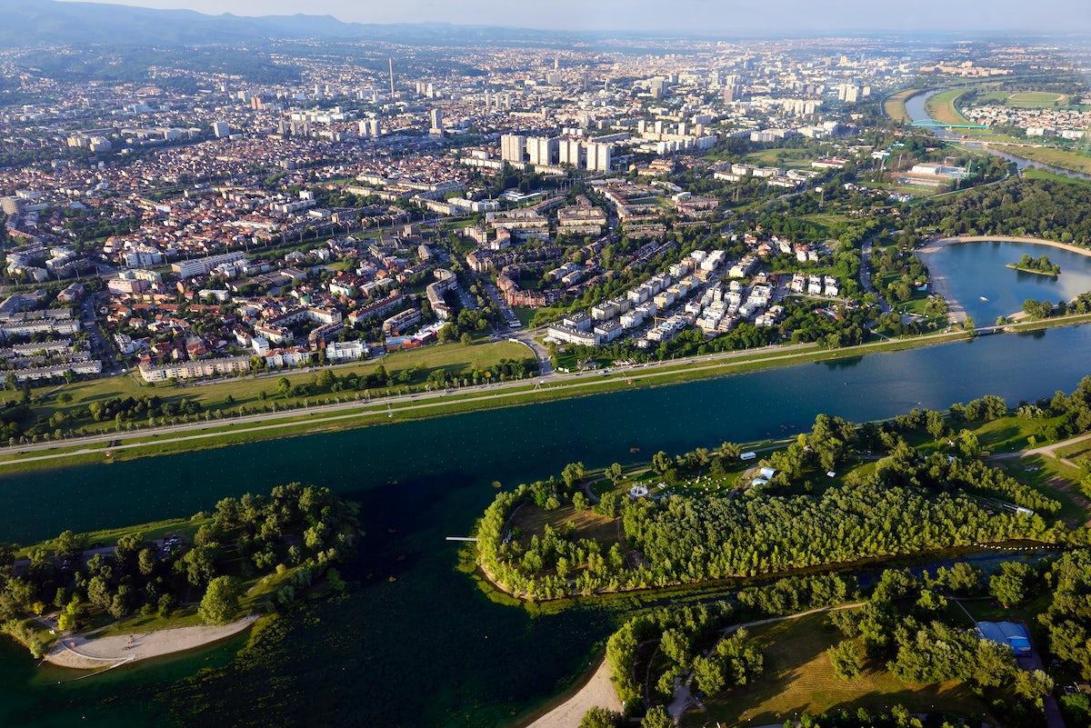 Jarun Lake in Zagreb and its six islands